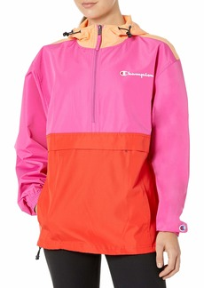 Champion Women's Packable Jacket-Color Blocked iced Melon/Peony para Paisley/Red FL X Large