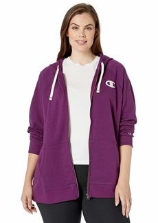 Champion Women's Plus-Size Heritage French Terry Zip Hoodie Venetian Purple w/Satin Stitch c