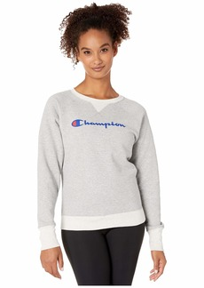 Champion Women's Powerblend Boyfriend Crew Sweatshirt Oxford Grey Heather/Oatmeal-Graphic X Large