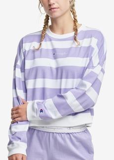 Champion Women's Striped Cropped Cotton Sweatshirt