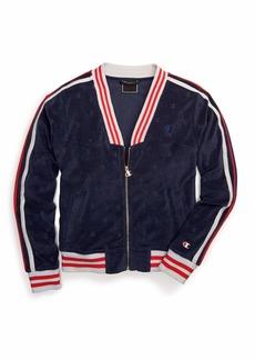 Champion Women's Terry Cloth Warm-Up Jacket Imperial Indigo C LGO Jacquard 2XL