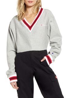 Champion Yarn Dye Stripe Trim Reverse Weave® Crop Sweatshirt