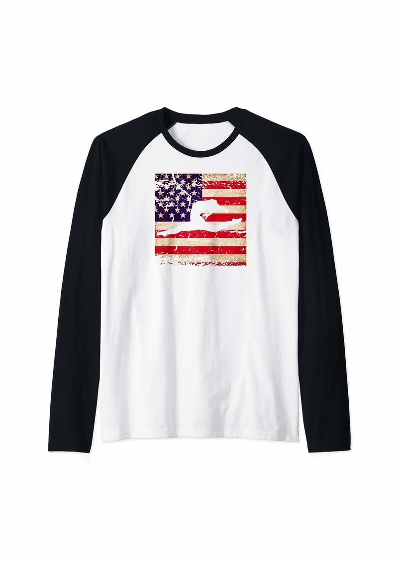 Champion Gymnastics Distressed American Flag Raglan Baseball Tee