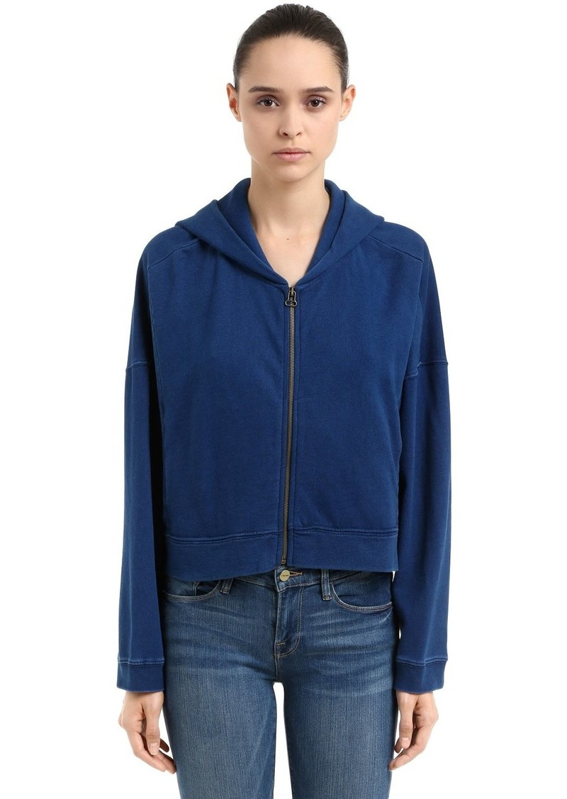 Champion Oversize Hooded Cotton Crop Sweatshirt