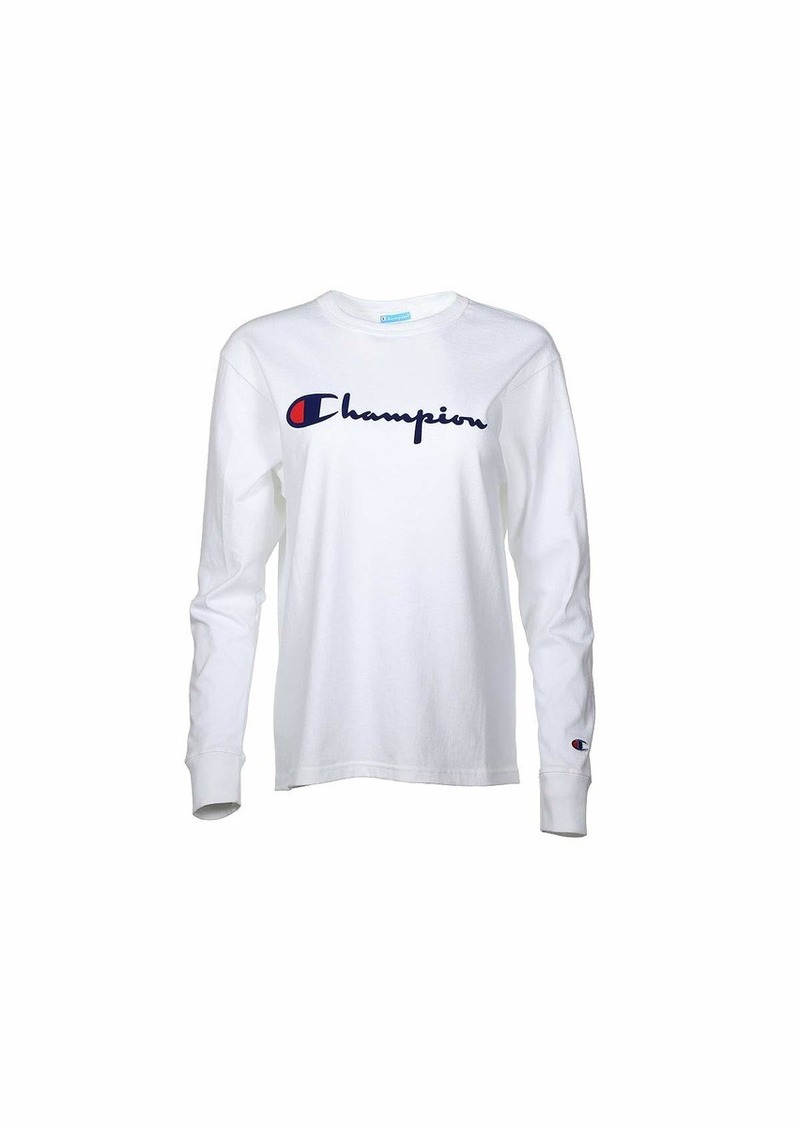 Champion THE ORIGINAL LONG SLEEVE TEE-DIRECT FLOCK SCRIPT
