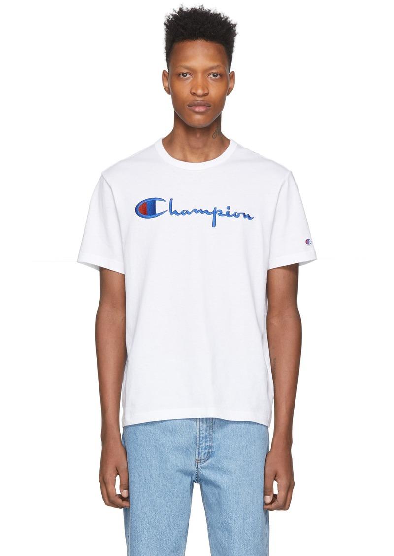 Champion White Big Script Logo T-Shirt
