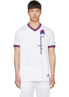 Champion White Mesh Script Logo T-Shirt