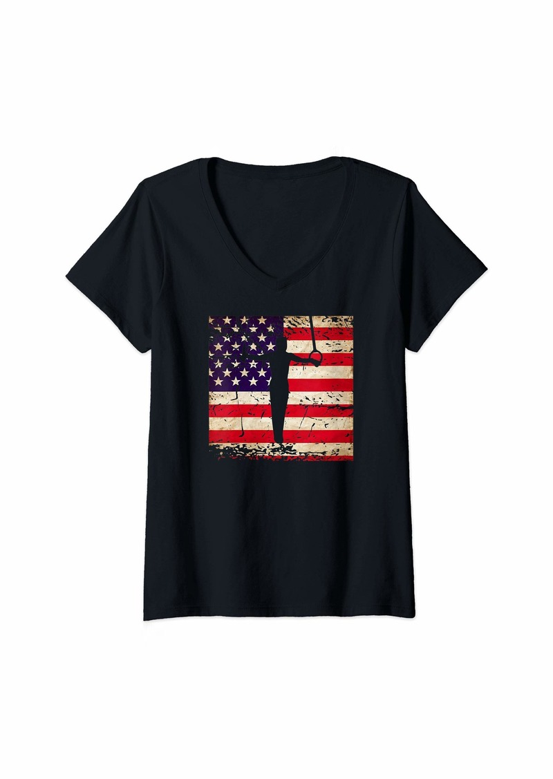 Champion Womens Mens Boys Gymnastics Distressed American Flag V-Neck T-Shirt