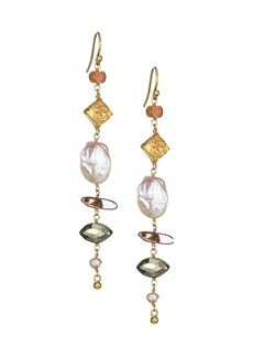 Chan Luu 13-14MM Pink Freshwater Pearl & 3-4MM Champagne Freshwater Pearl Semi-Precious Linear Drop Earrings