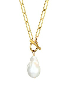 Chan Luu 16MM White Baroque Freshwater Pearl Pendant Necklace