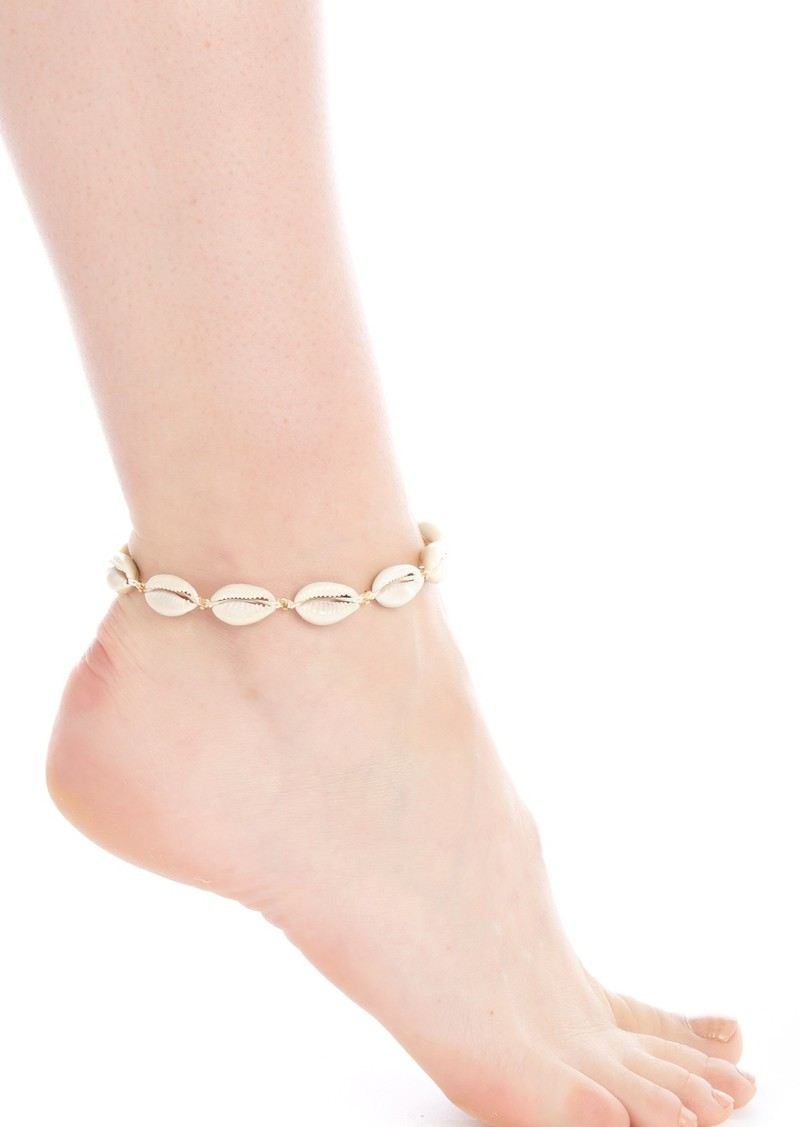 18K Gold Plated Sterling Silver Cowrie Shell Anklet