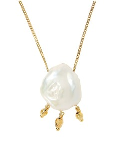 Chan Luu 18K Goldplated & 13MM-14MM White Freshwater Pearl Pendant Necklace
