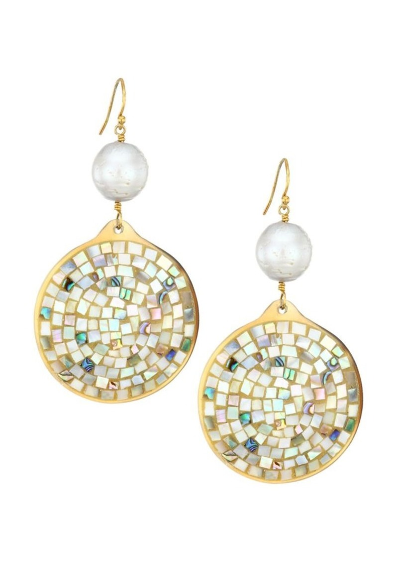 Chan Luu 18K Goldplated & 14-15MM Grey Pearl Mosaic Drop Earrings