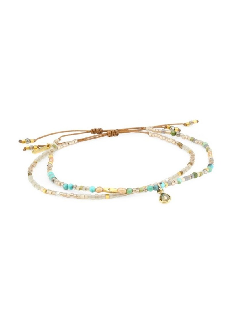 Chan Luu 18K Goldplated & Compressed Turquoise Mixed Bead Pull-Tie Bracelet