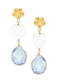 Chan Luu 18K Goldplated, 13-14MM Peacock Pearl & Mother-Of-Pearl Heart Drop Earrings