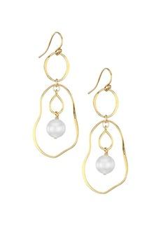 Chan Luu 18K Goldplated Sterling Silver & 10-10.5MM Pearl Double-Hoop Earrings