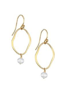Chan Luu 18K Goldplated Sterling Silver & 4-4.5MM Pearl Drop Hoop Earrings