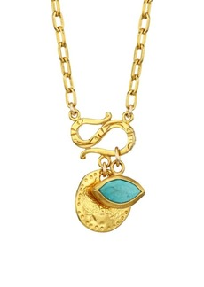 Chan Luu 18K Goldplated Sterling Silver & Turquoise Evil Eye Charm Necklace