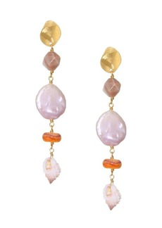 Chan Luu 18K Yellow Goldplated, Pearl & Shell Drop Earrings