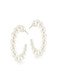 Chan Luu 3-6MM Cream Pearl Swarovski Pearl Hoop Earrings