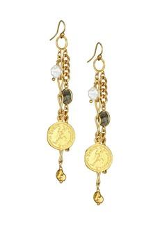 Chan Luu 9-10MM White Keshi Pearl & Labradorite Cluster Earrings