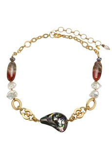 Chan Luu Abalone 13-14mm Pearl & Mixed Stone Goldtone Short Necklace