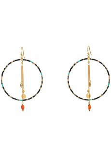 Chan Luu Beaded Hoop Earring with Chain Fringe