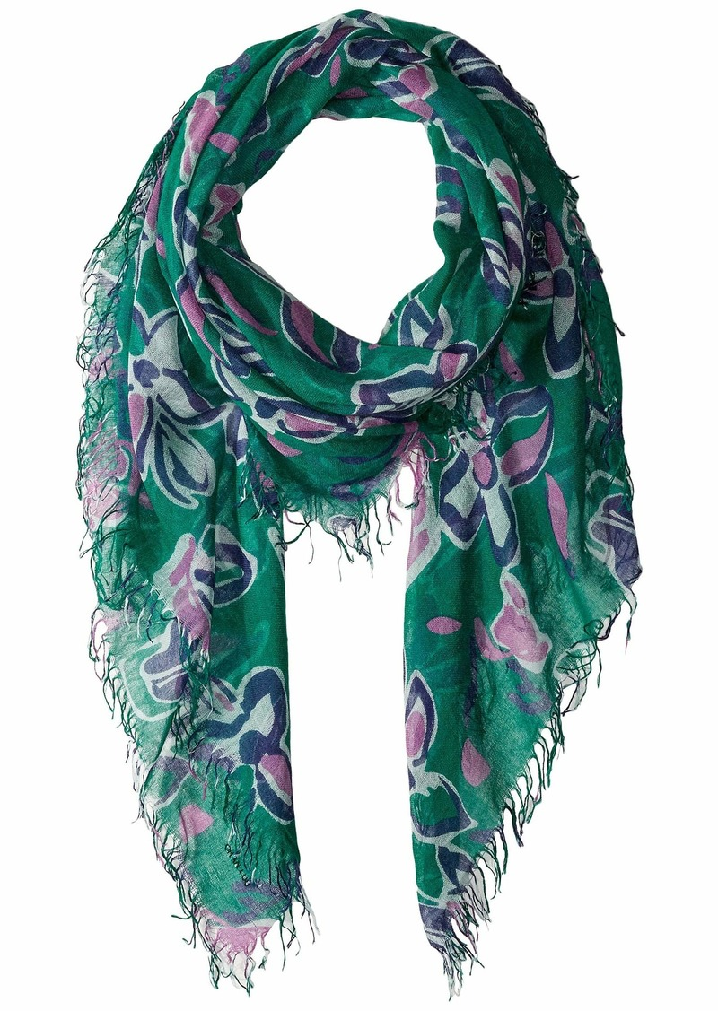 Chan Luu Cashmere Silk Modern Floral Print Scarf