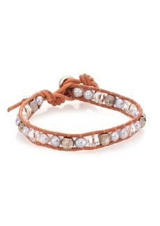 Chan Luu 6MM Grey Potato Pearl, Crystal & Leather Wrap Bracelet