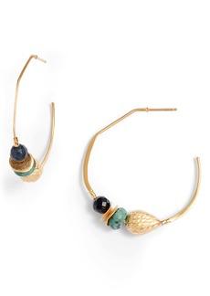 Chan Luu Beaded Hammered Hoop Earrings