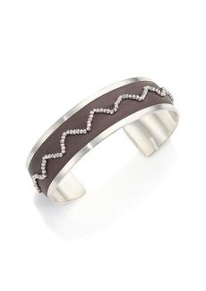 Chan Luu Beaded Leather & Sterling Silver Cuff Bracelet