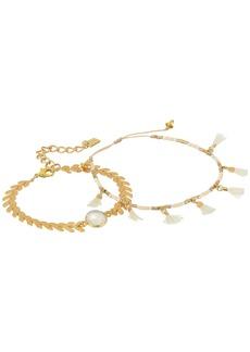Chan Luu Chevron and Tassel Adjustable Bracelets