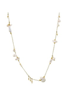 """Chan Luu Cultured Freshwater Pearl Station Necklace in 18K Gold-Plated Sterling Silver or Sterling Silver, 36"""""""