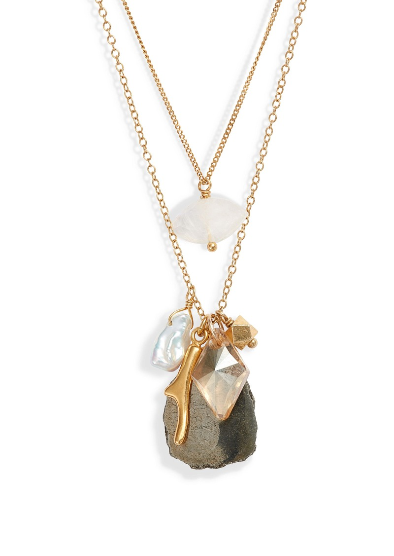 Chan Luu Double Layer Pyrite & Cultured Pearl Pendant Necklace