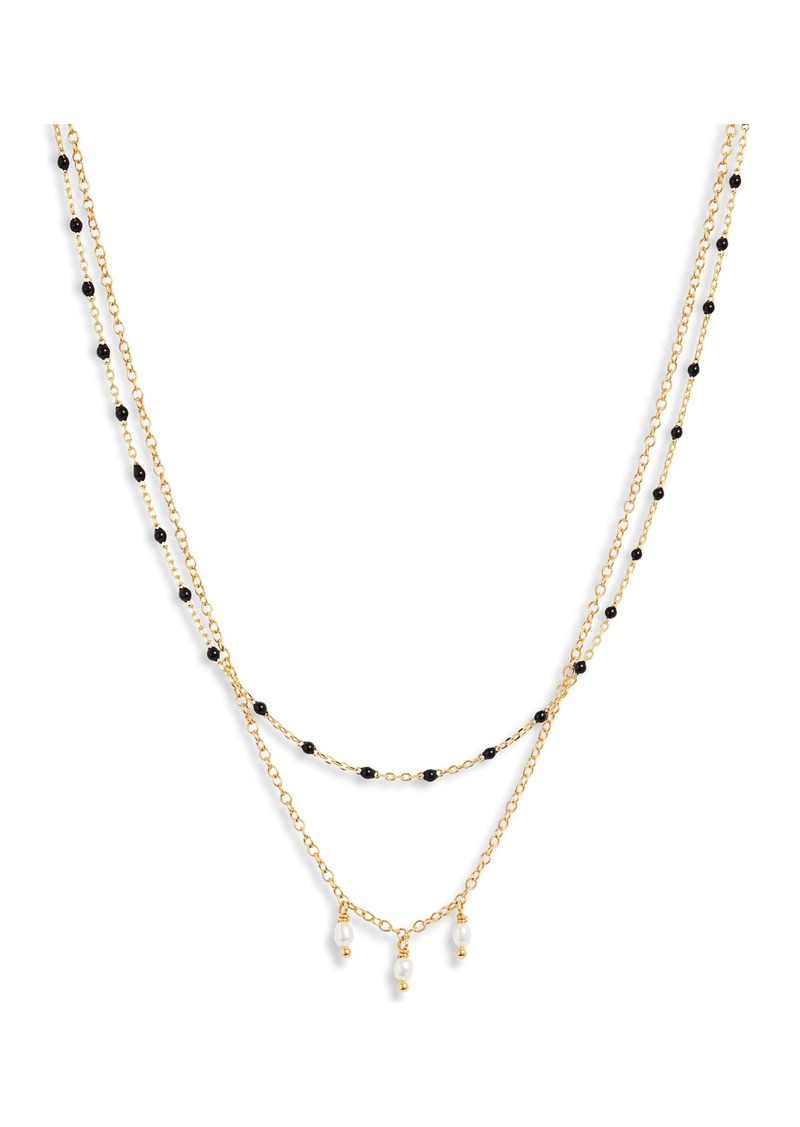 Chan Luu Enameled Bead & Cultured Pearl Double Strand Necklace