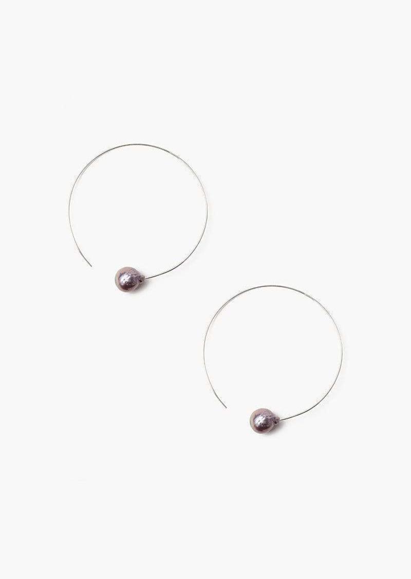 Chan Luu Floating Pearl Hoop Earring