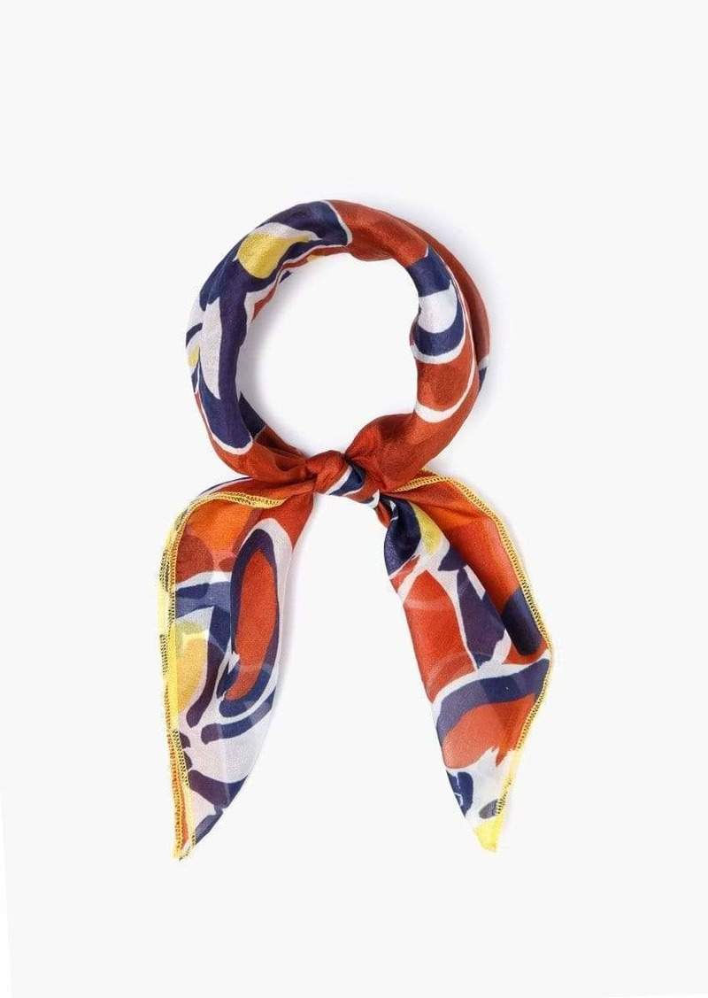 Chan Luu Floral Silk Neckerchief w/ Exposed Stitching