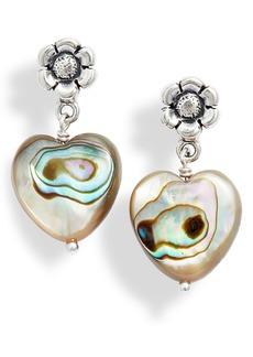 Chan Luu Flower & Abalone Heart Drop Earrings