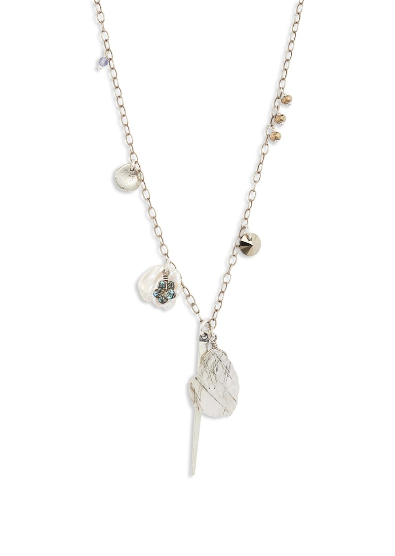Chan Luu Freshwater Pearl & Black Rutilated Quartz Pendant Necklace