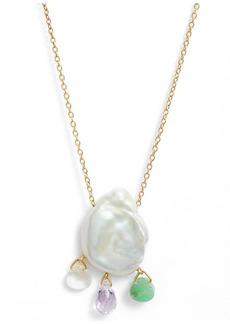 Chan Luu Freshwater Pearl & Quartz Pendant Necklace