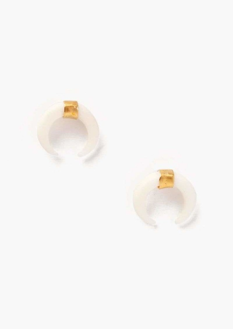 Chan Luu Gold White Horn Stud Earrings