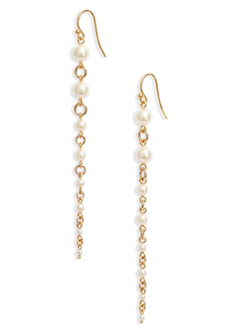 Chan Luu Graduated Imitation Pearl Drop Earrings