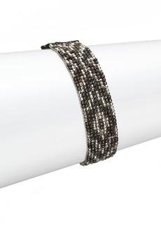 Chan Luu Gunmetal, Sterling Silver & Leather Multi-Row Beaded Bracelet