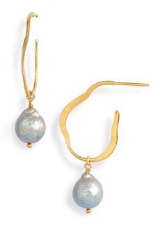 Chan Luu Hammered Hoop Pearl Drop Earrings