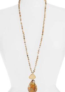 Chan Luu Long Matte Picture Jasper Pendant Necklace