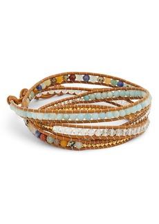 Chan Luu Mixed Semiprecious Stone Leather Wrap Bracelet