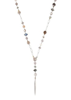 """Chan Luu Multi-Stone Lariat Necklace in 18K Gold-Plated Sterling Silver or Sterling Silver, 32"""""""