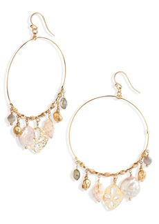 Chan Luu Pearl & Shell Charm Hoop Earrings