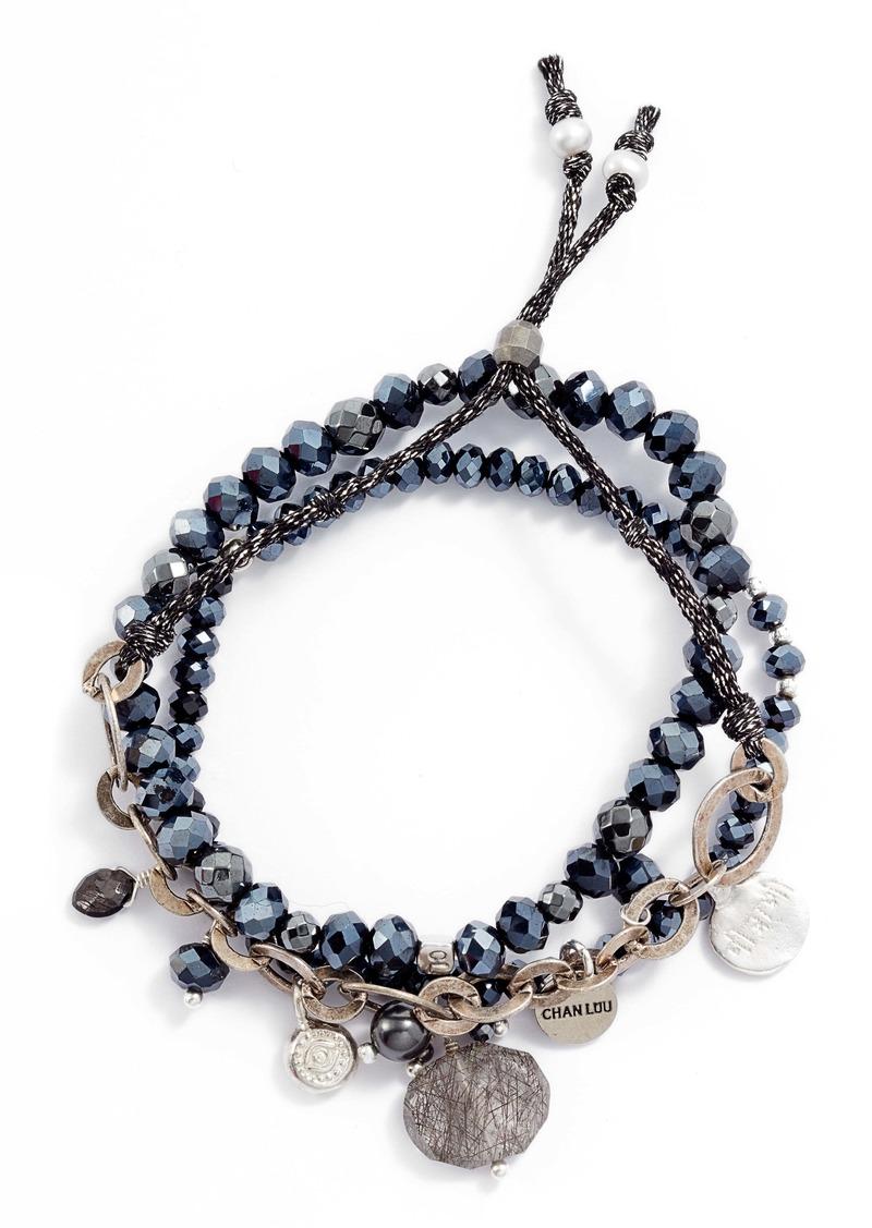 Chan Luu Set of 3 Crystal Bracelets