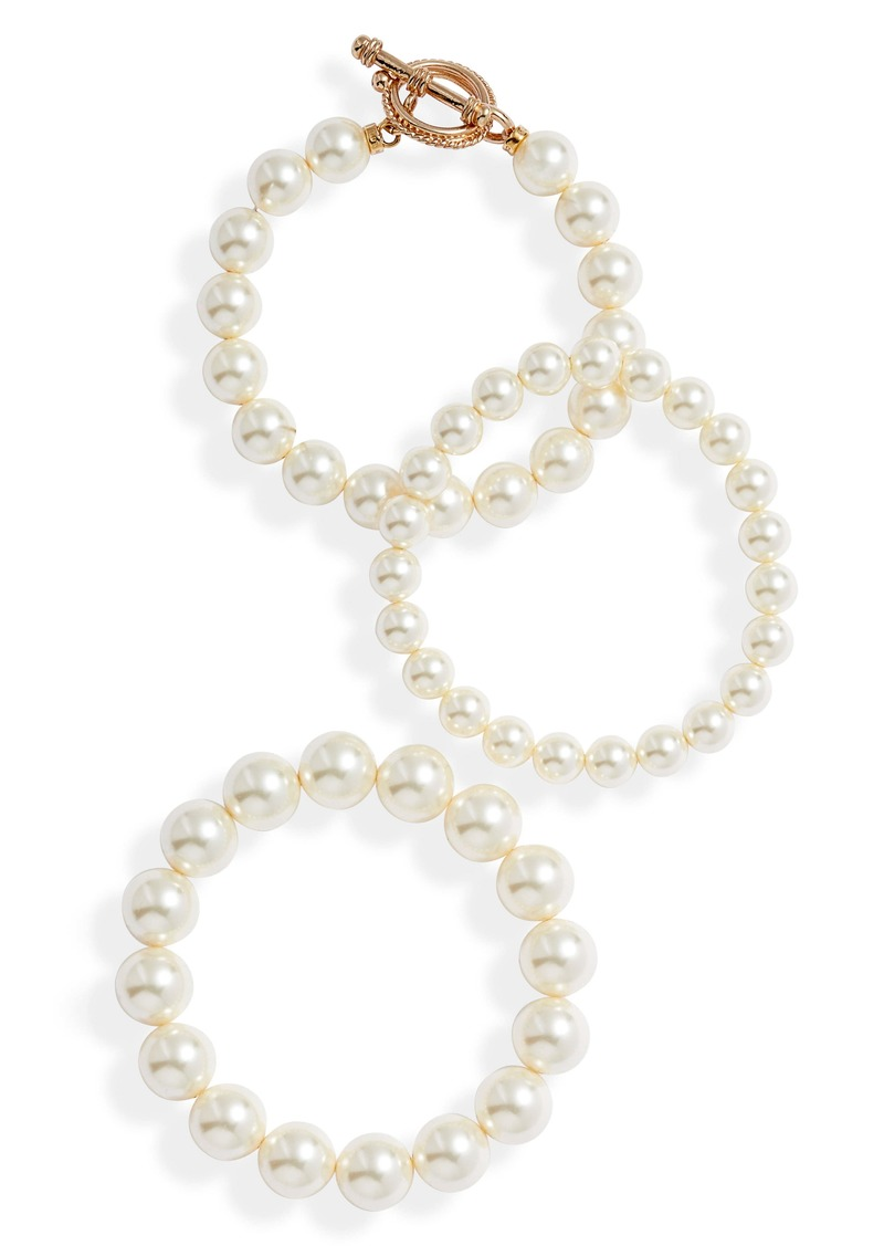 Chan Luu Set of 3 Imitation Pearl Bracelets